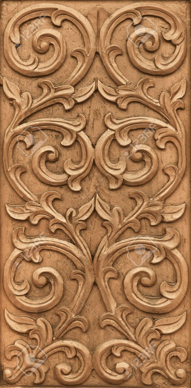 Pattern of flower carved on wood background stock photo picture and