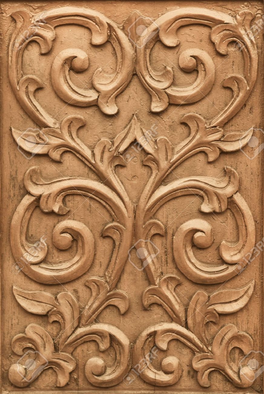 Pattern Of Flower Carved On Wood Background Stock Photo, Picture ...