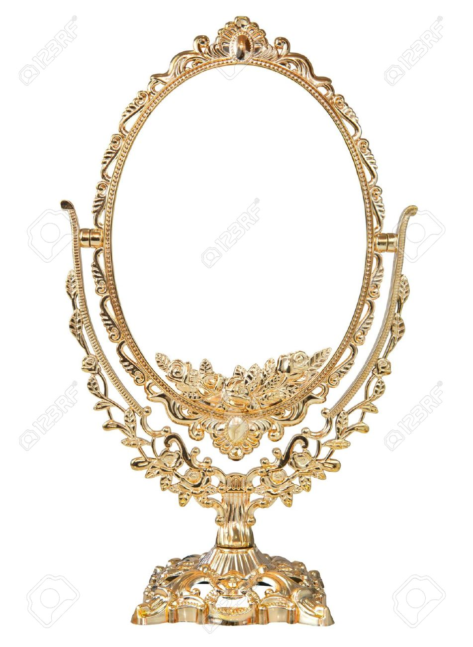 Antique baroque brass gold frame and mirror isolated on white background - 18269088