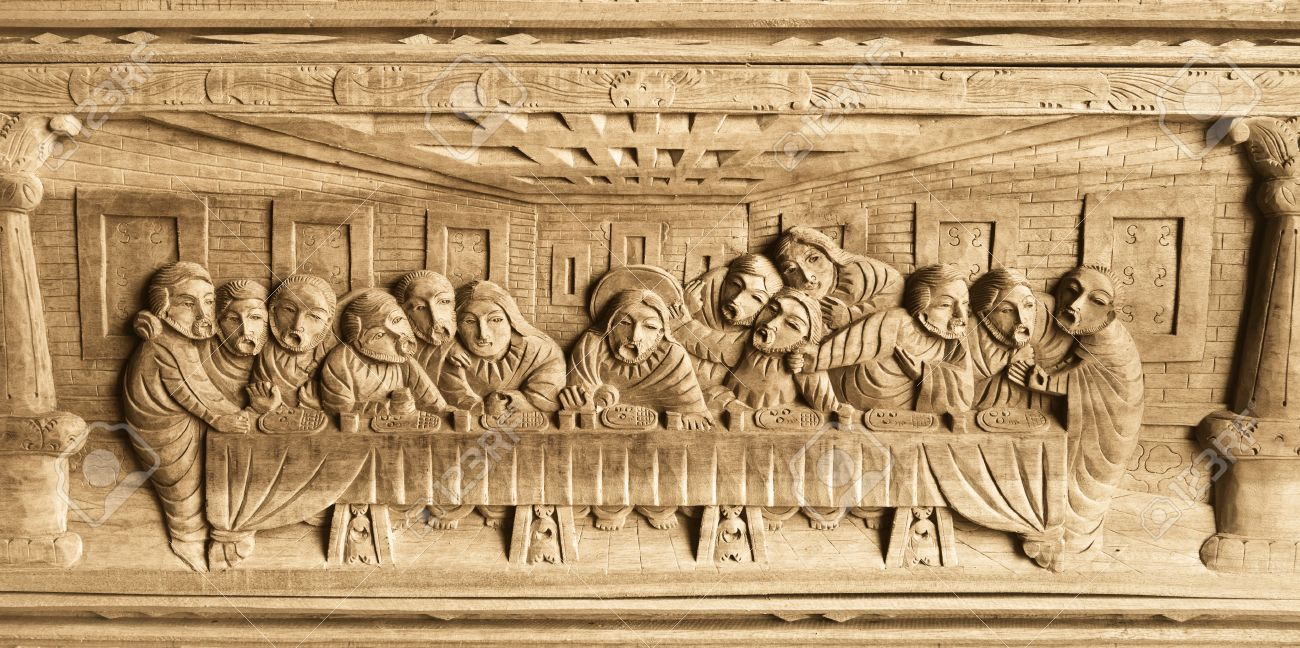 Pattern Of Last Dinner Carved On Wood Stock Photo, Picture And ...