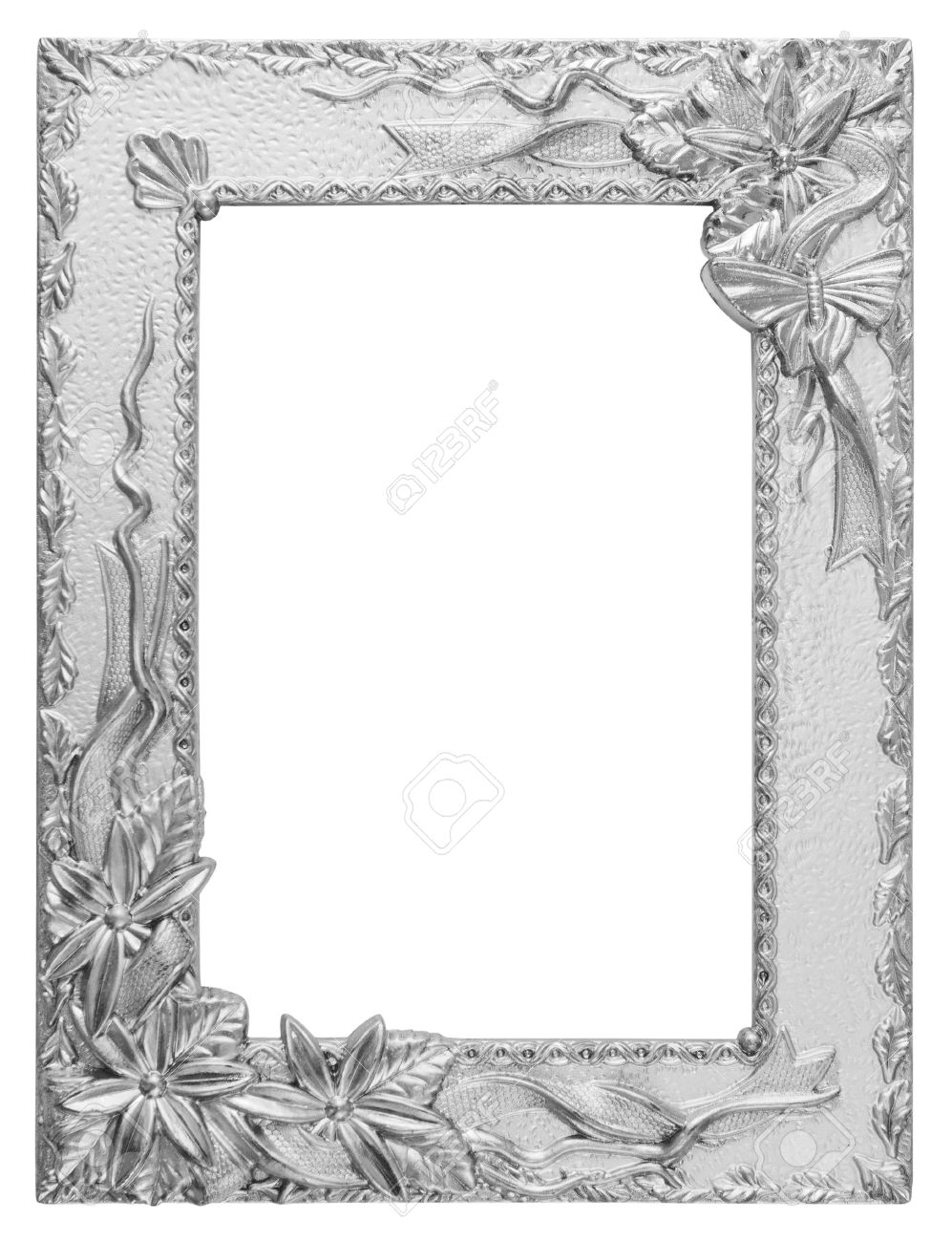 antique love silver frame isolated on white - 20463436