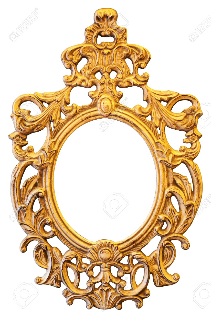 Gold ornate oval frame isolated on white background - 29103282