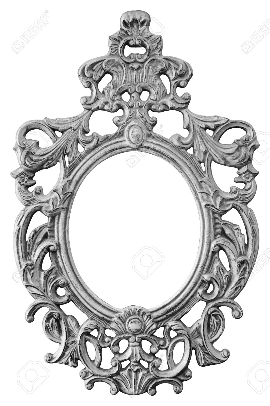 silver ornate oval frame isolated on white background stock photo 32520719
