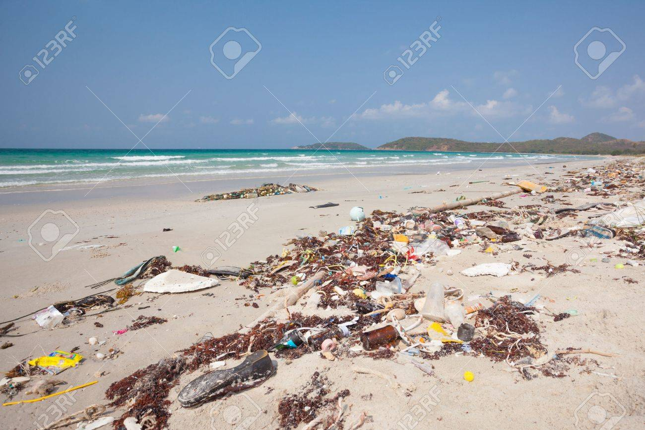 Lot of rubbish washed up on the shore on the beach - 38166887