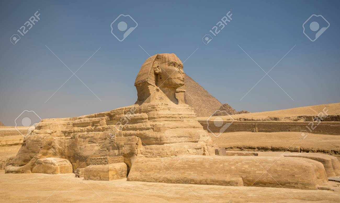 Sphinx and great pyramids at Giza, Cairo, Egypt - 86275051