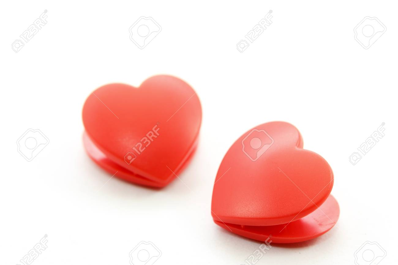 Twin heart on white background Stock Photo - 17451416