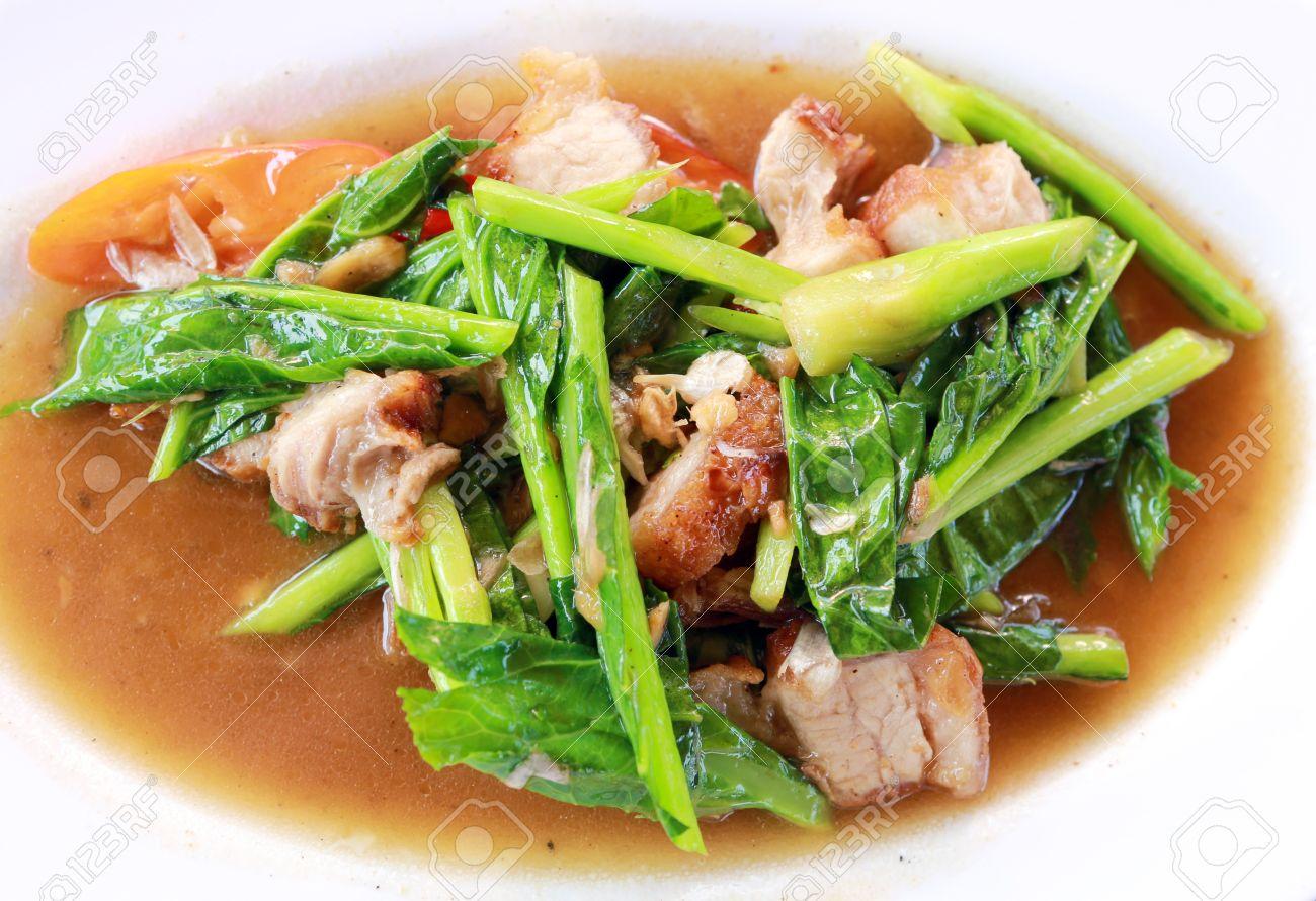 Kale with crispy pork Stock Photo - 19974380