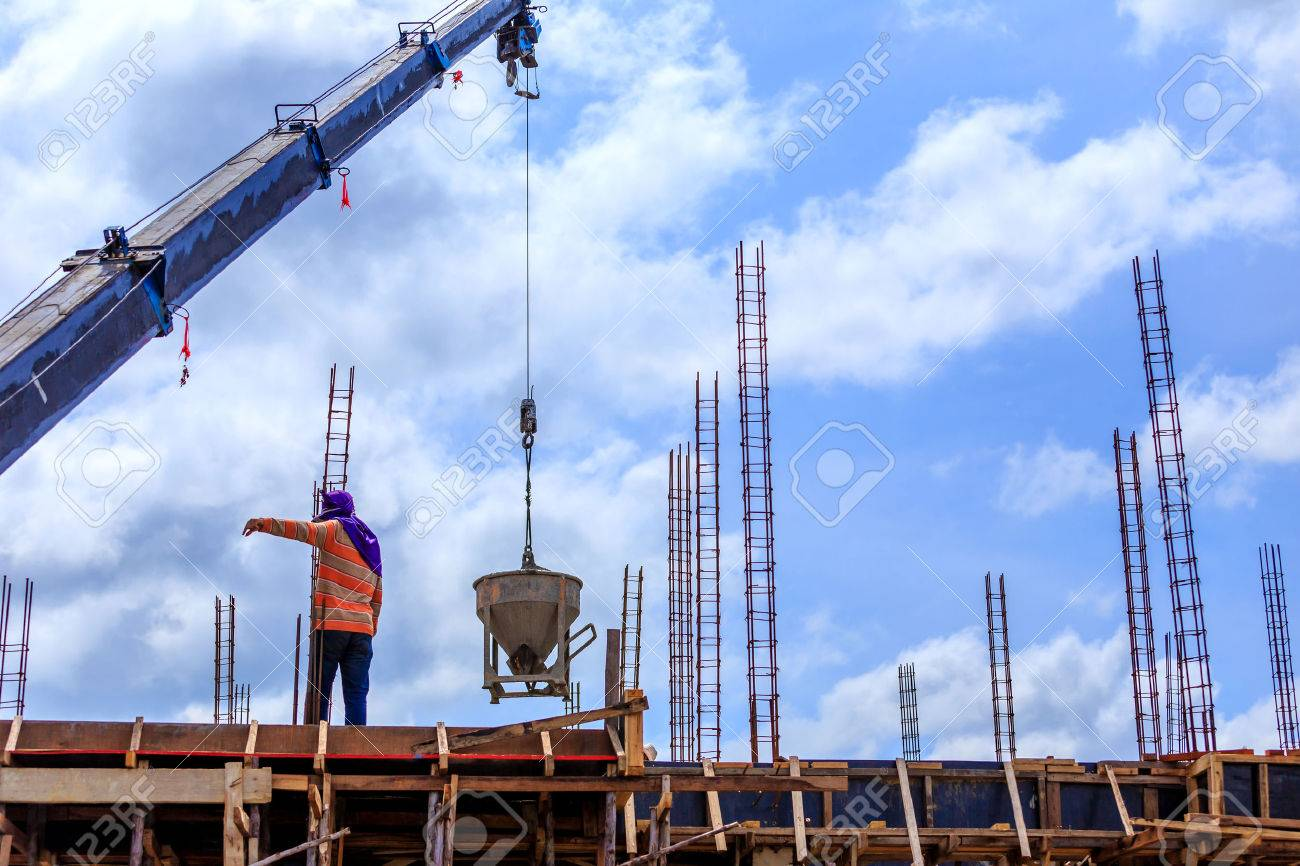 Crane working in construction on blue sky Stock Photo - 22336574