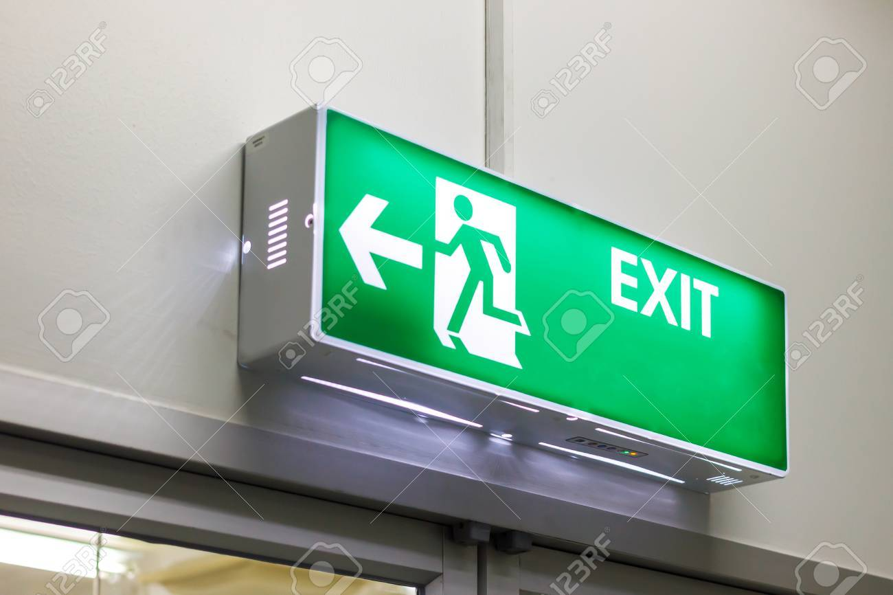 Fire Exit Light Sign Stock Photo   43431913