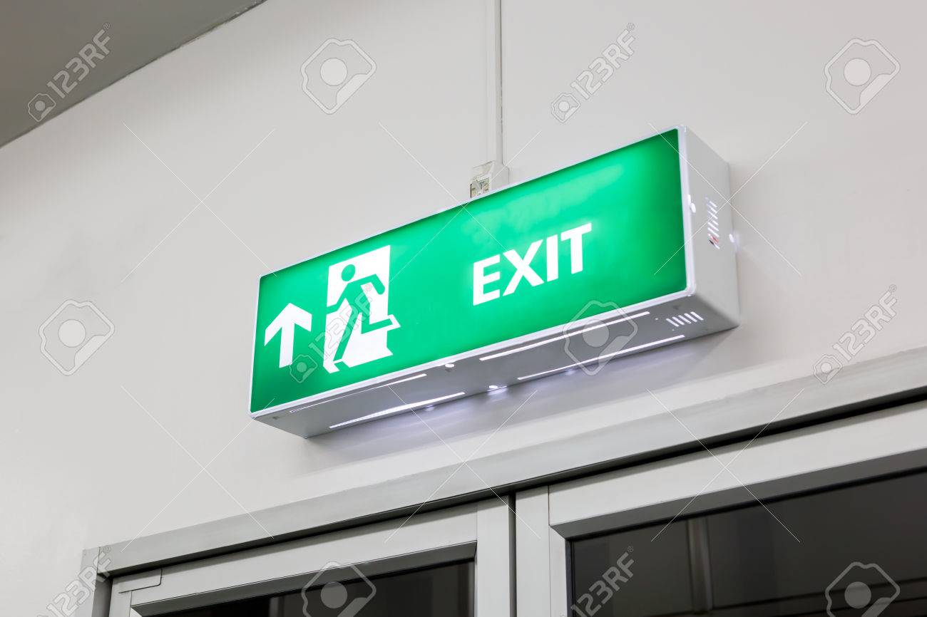 Fire Exit Light Sign Stock Photo   61315940