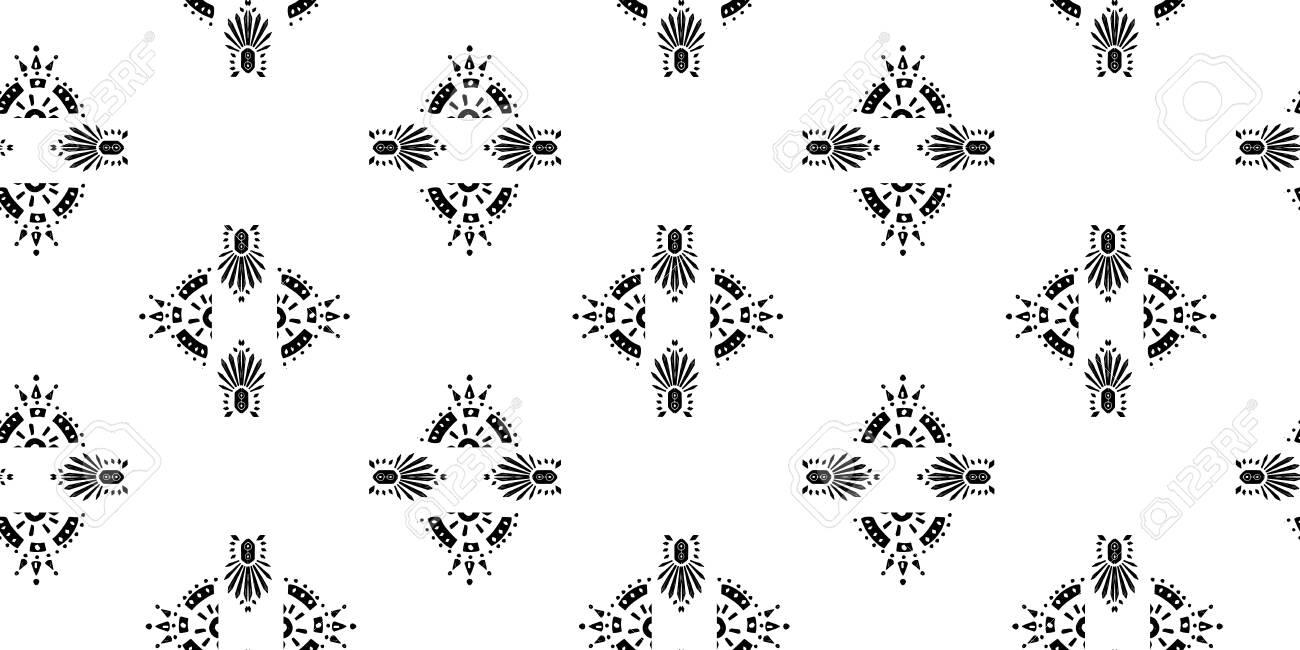 Ikat pattern etnic indian ornamental black and white illustration. Navajo motif texture ornate design for surface print. - 138731027