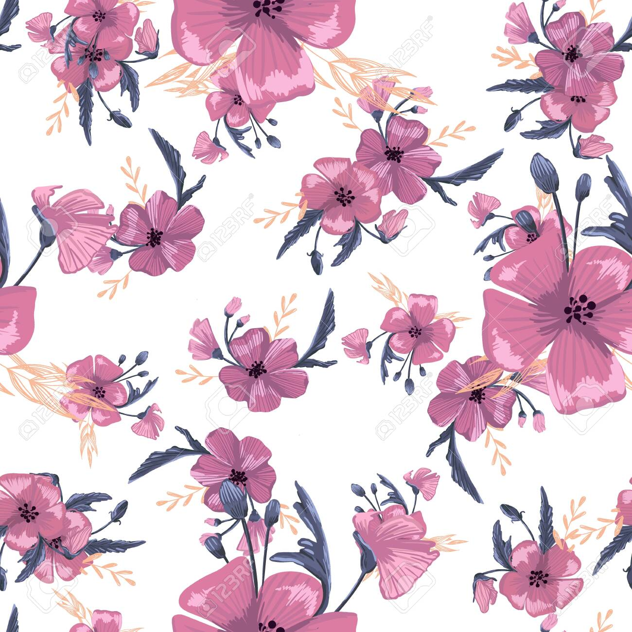 Fashionable cute pattern in native popies flowers. Flower seamless background for textiles, fabrics, covers, wallpapers, print, gift wrapping or any purpose - 147108690