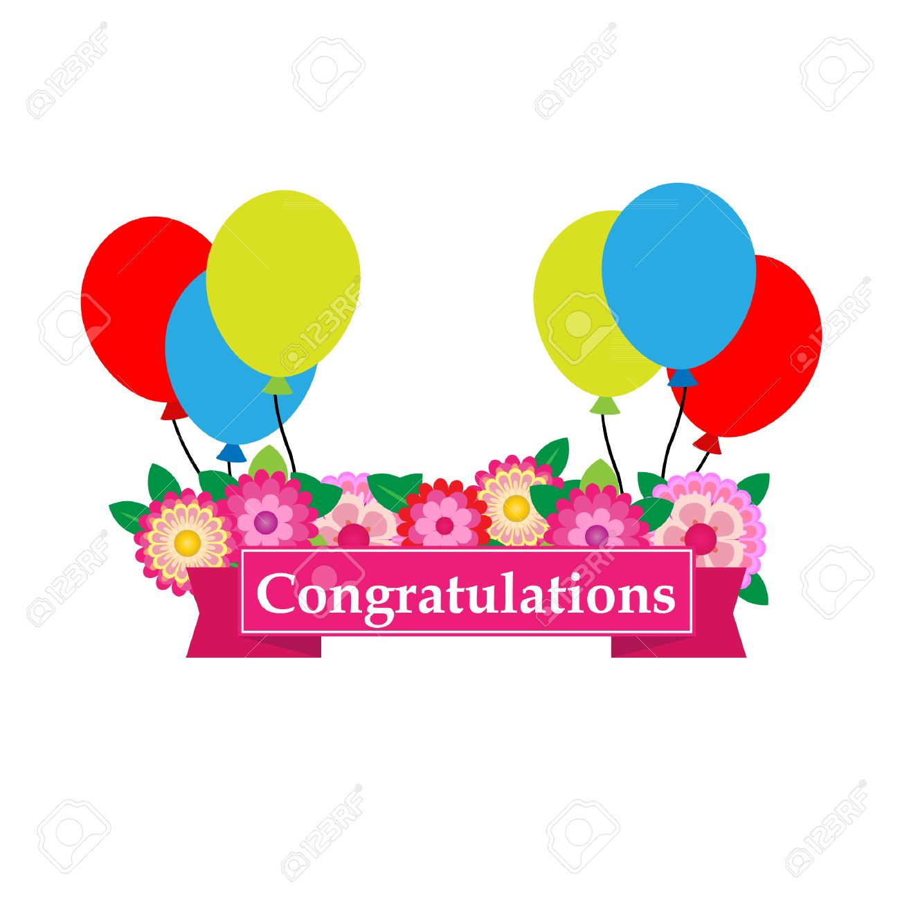 congratulations sign has flower and balloons vector royalty free