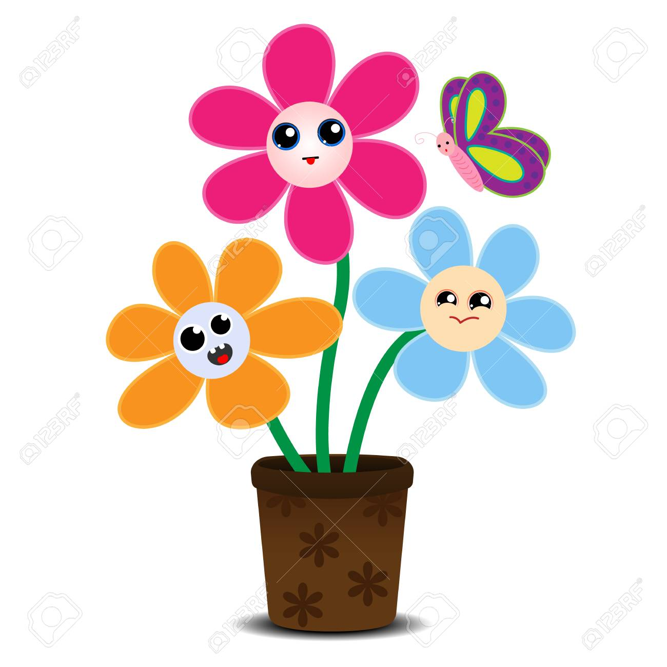 Cute Cartoon Flowers On A Flower Pot Royalty Free Cliparts Vectors And Stock Illustration Image 93063734