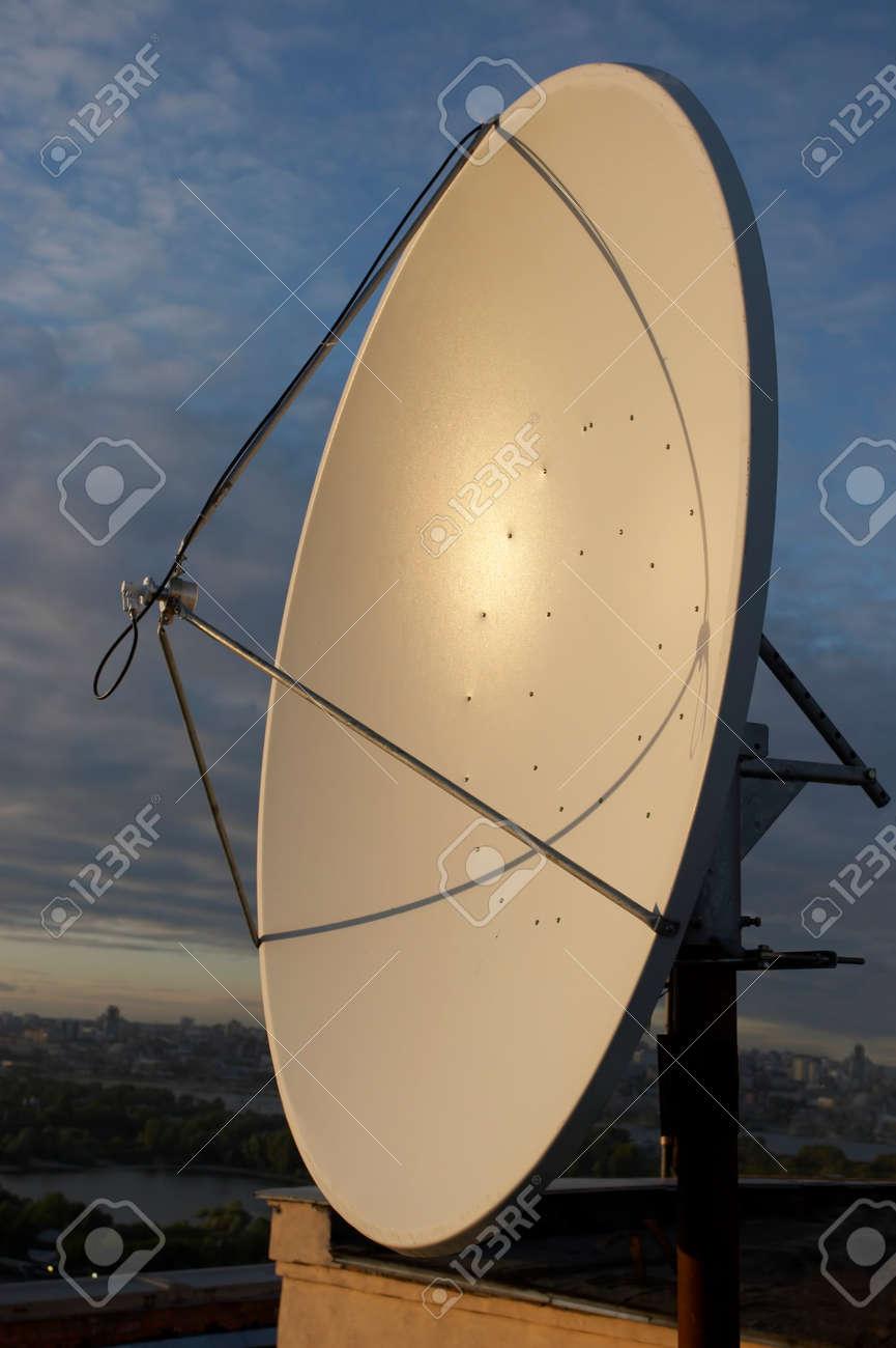 satellite-communication antenna on sky background Stock Photo - 1483573
