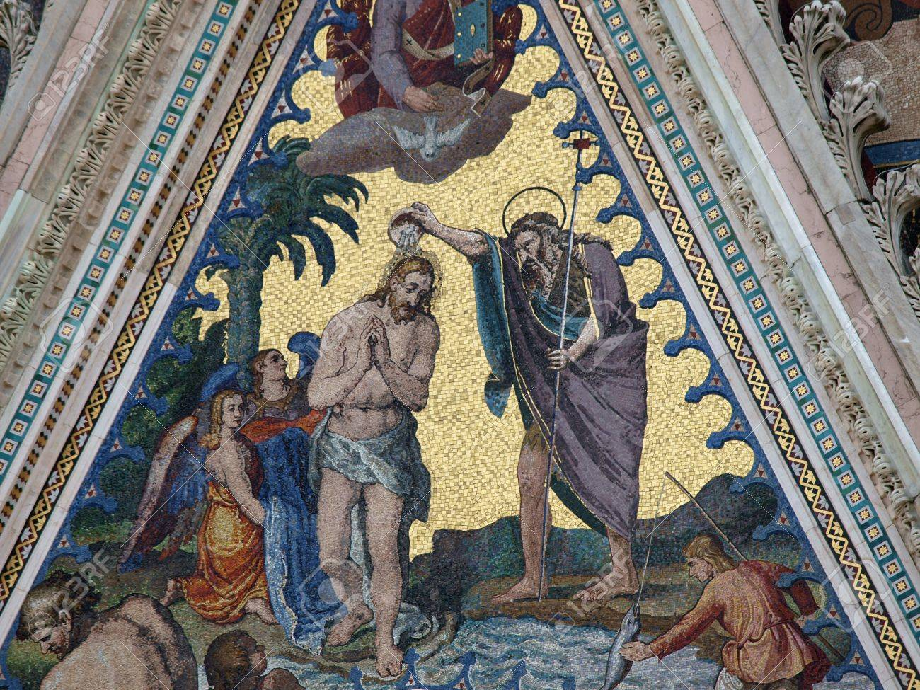 orvieto duomo facade the biblical scene of jesus baptism