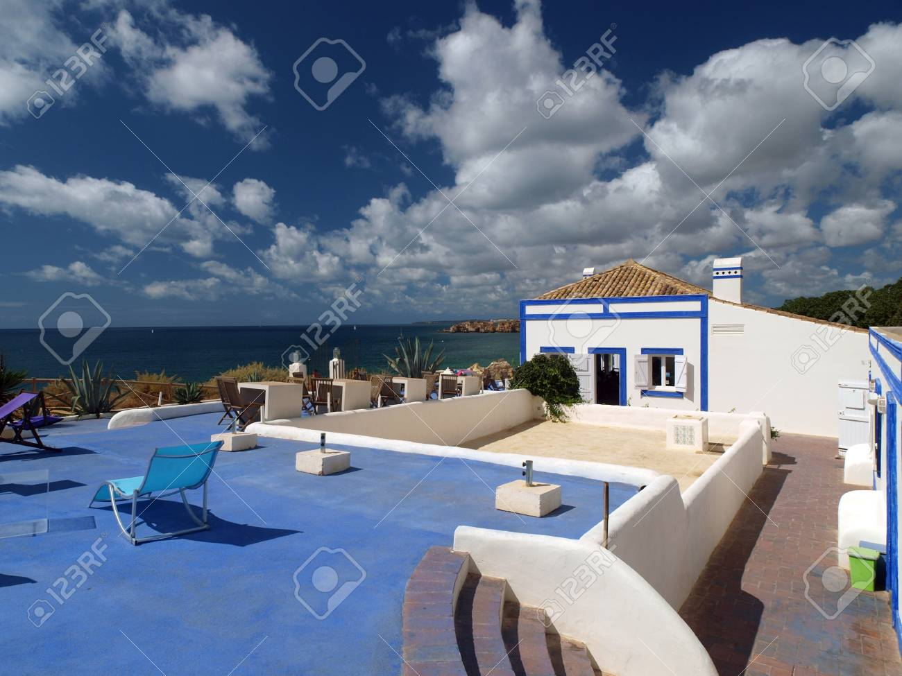 Terrace overlooking the beautiful beach and cliff Stock Photo - 12591536