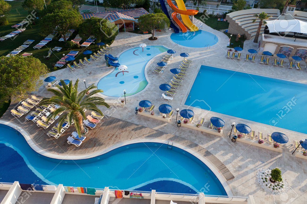 Swimming pool at the modern luxury hotel stock photo picture and