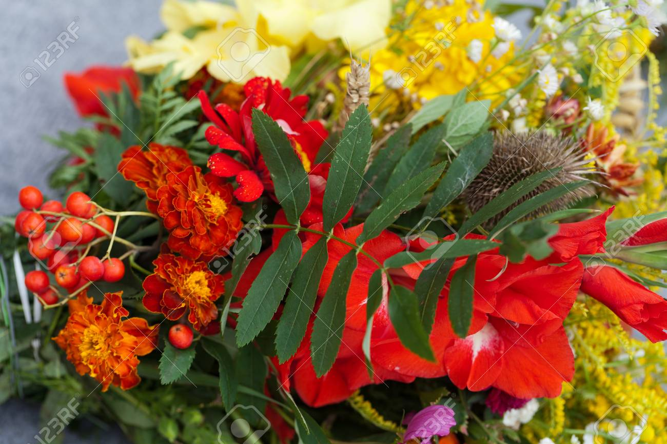 Beautiful Bouquets Of Flowers And Herbs Stock Photo, Picture And ...