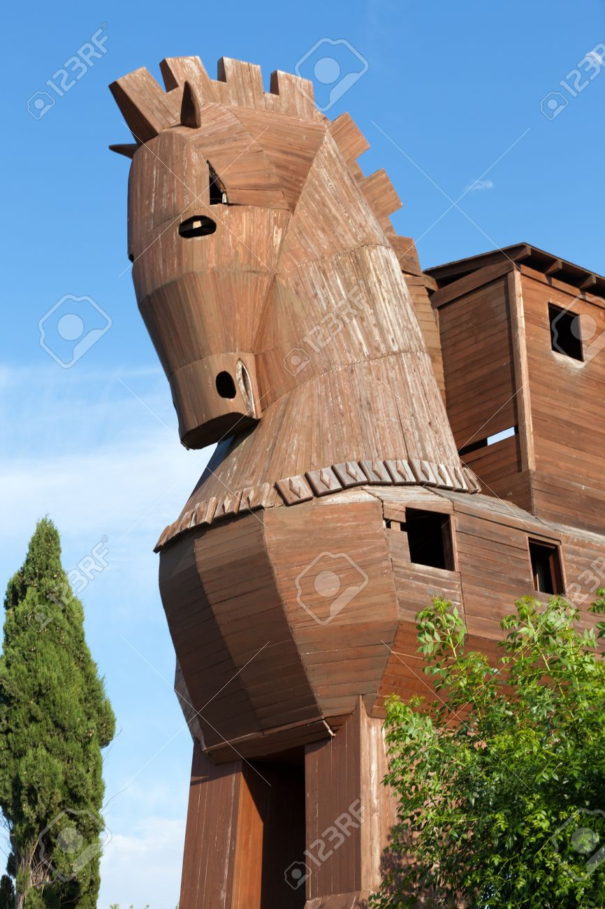trojan horse located in troy turkey stock photo picture and