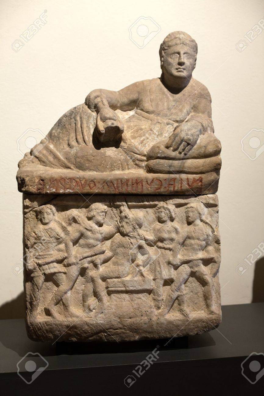 Ancient etruscan art. Sarcophagus of Chiusi, Tuscany.  Stock Photo - 16558241