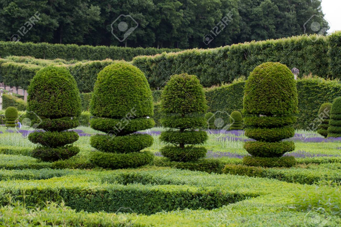 Splendid, Decorative Gardens At Castles In The Valley Of Loire Stock ...