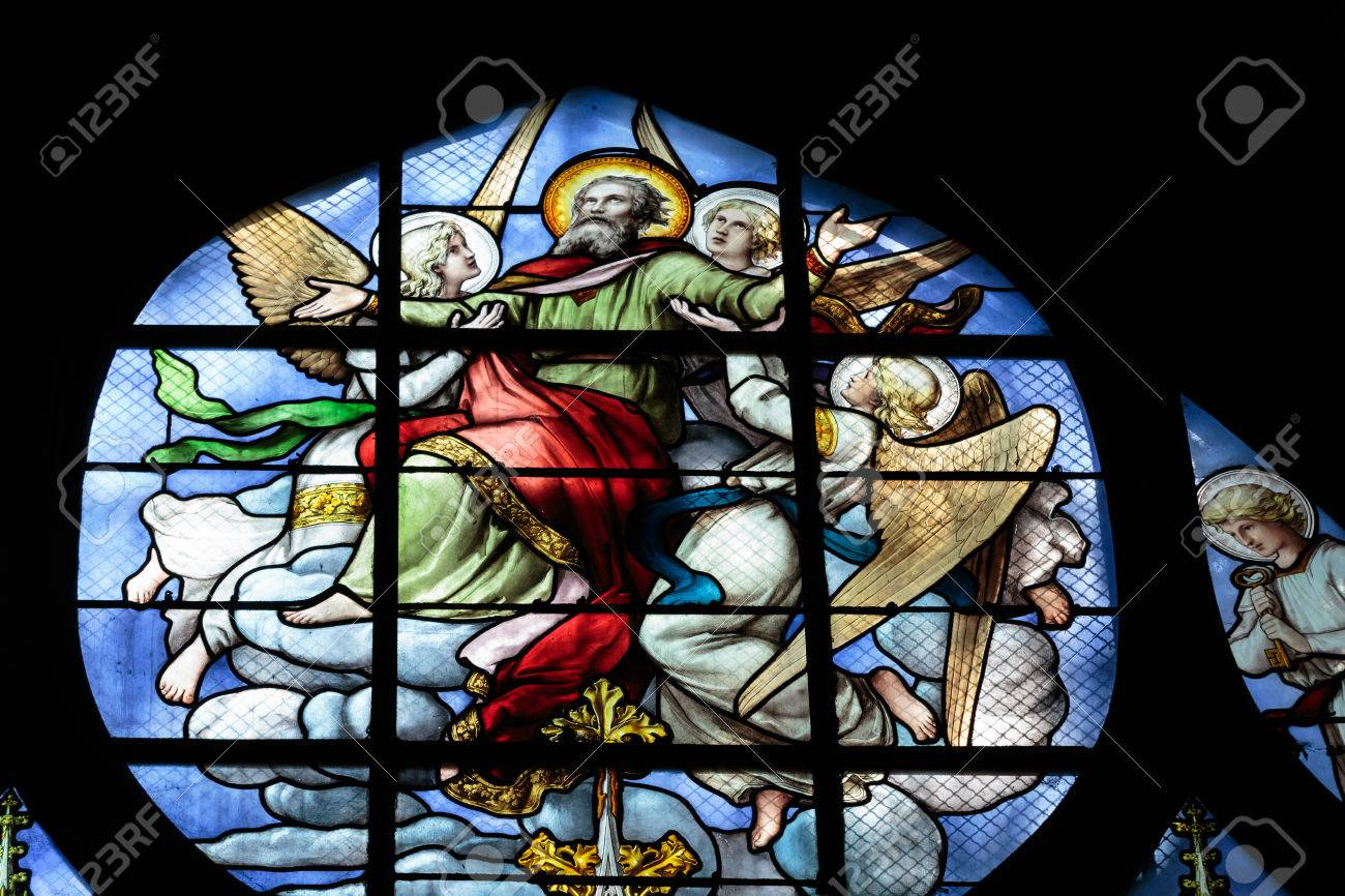 Stained Glass Window In The Church Of Saint Severin Is A Roman Catholic