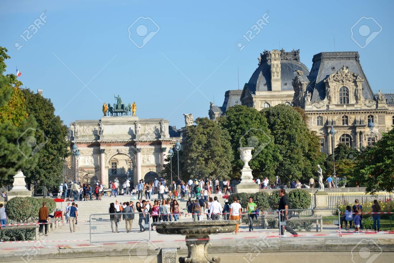 Paris Local And Tourist In Famous Tuileries Garden Tuileries