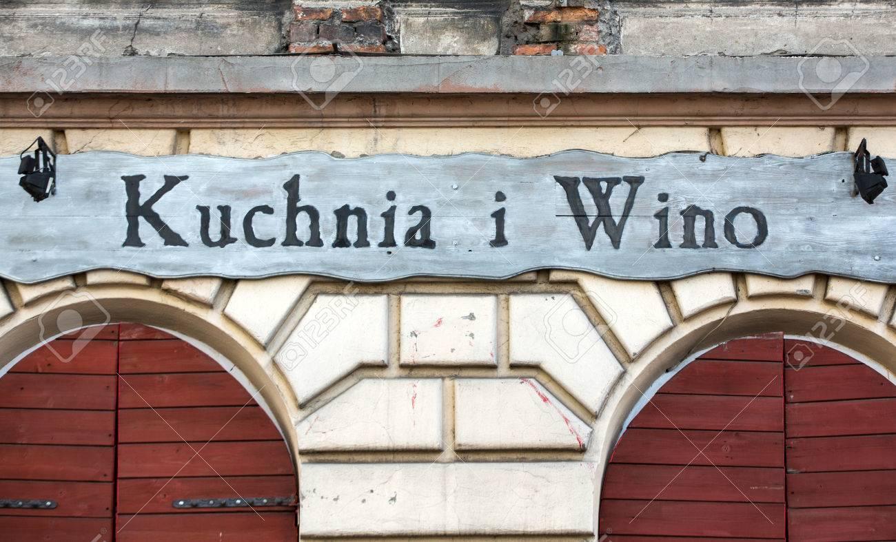 Cracow Poland January 30 2016 Vintage Signboard Restaurant