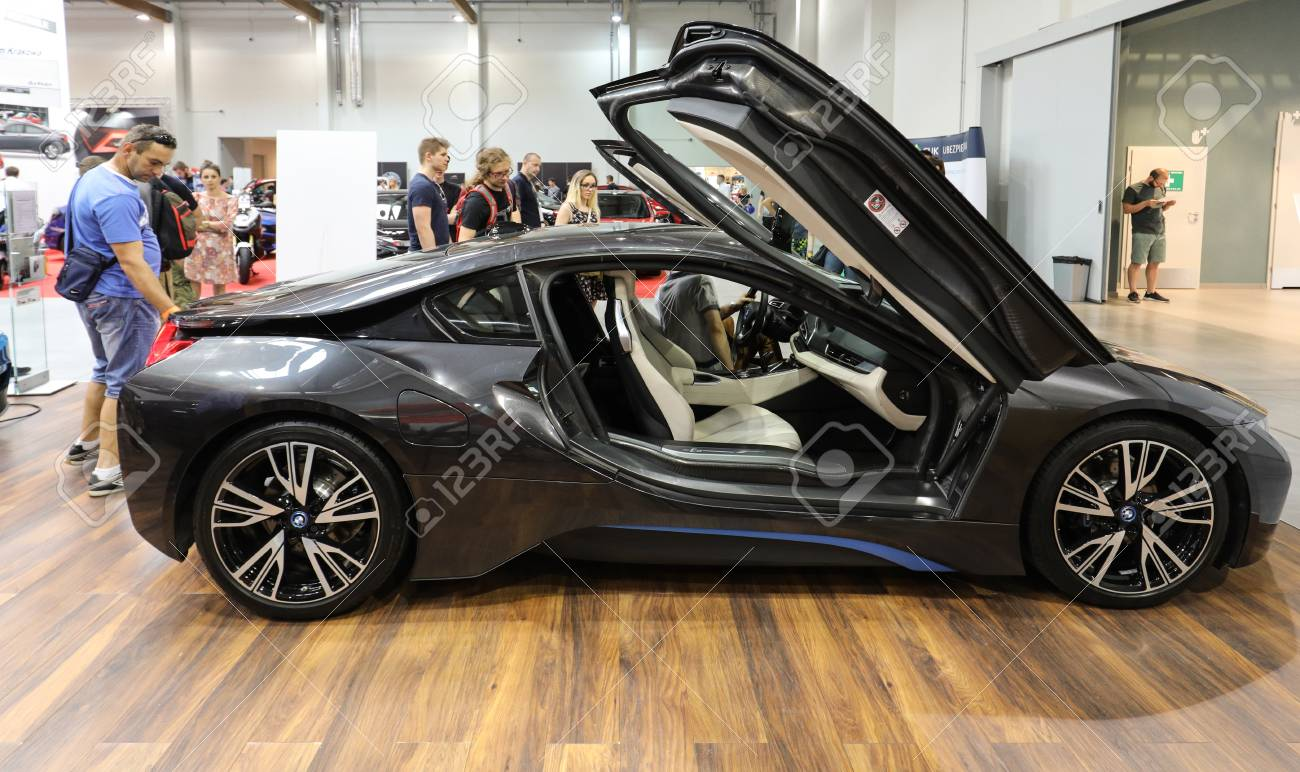 New BMW I8 Electric Car Displayed At 3rd Edition Of MOTO SHOW In Krakow.  Poland