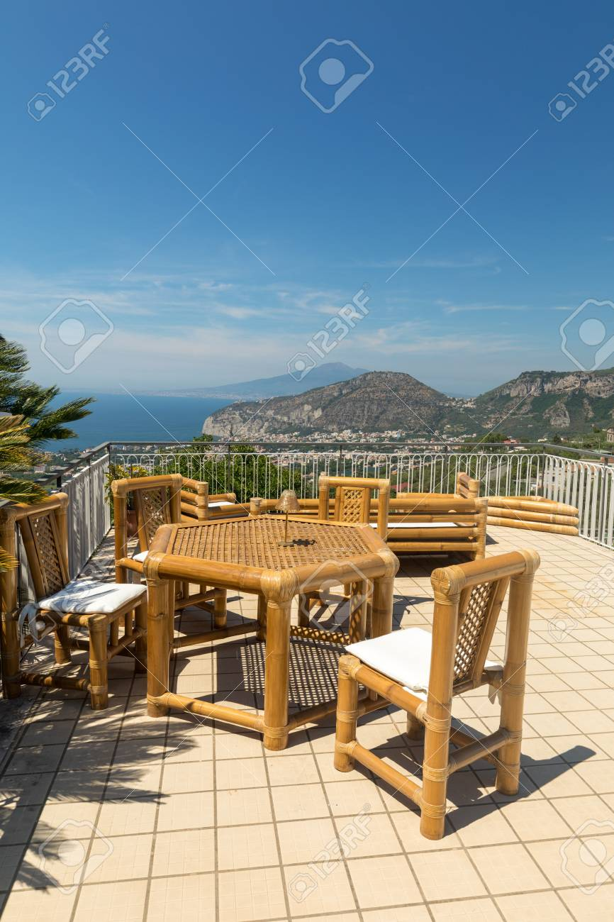 thebay furniture. Interesting Furniture Chairs And Table On The Terrace Overlooking Bay Of Naples Vesuvius  Sorrento In Thebay Furniture T