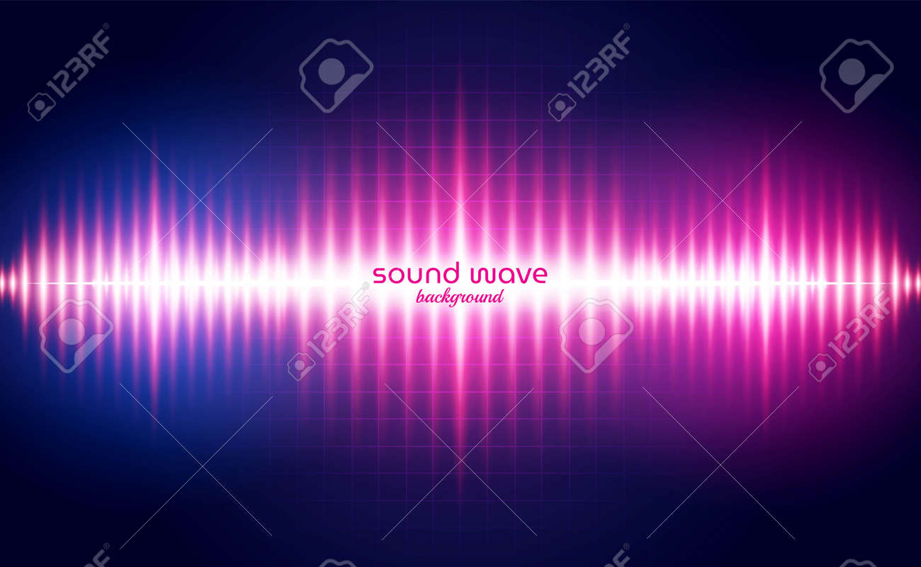 Sound Wave Background with Red Neon Light Colour - 167133214