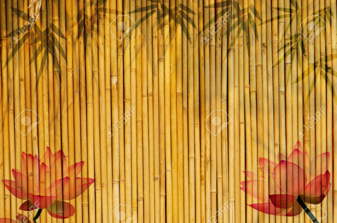lotus and bamboo background Stock Photo - 8070593