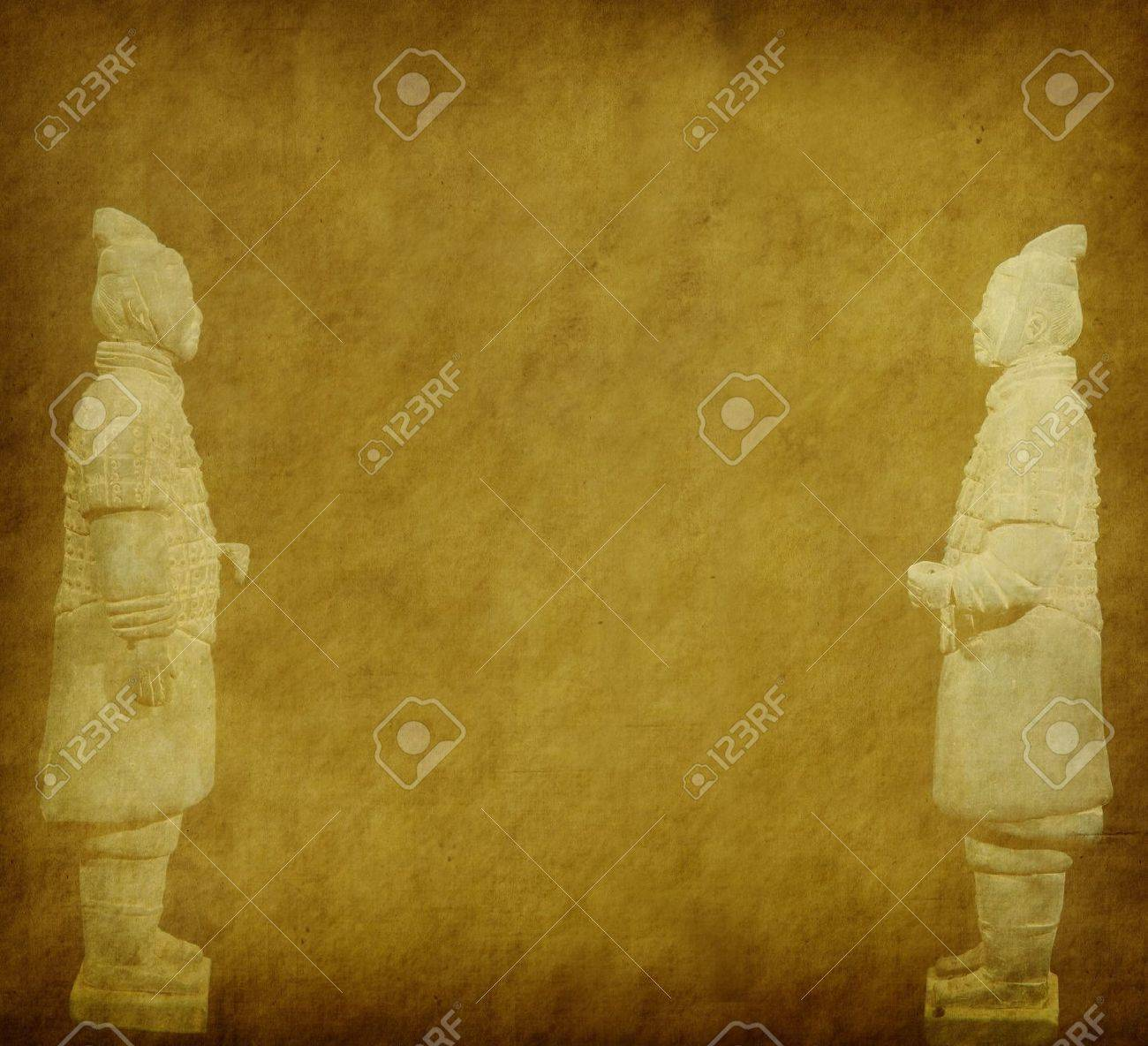 Terracotta Army Figure In China On Old Grunge Antique Paper Texture ...