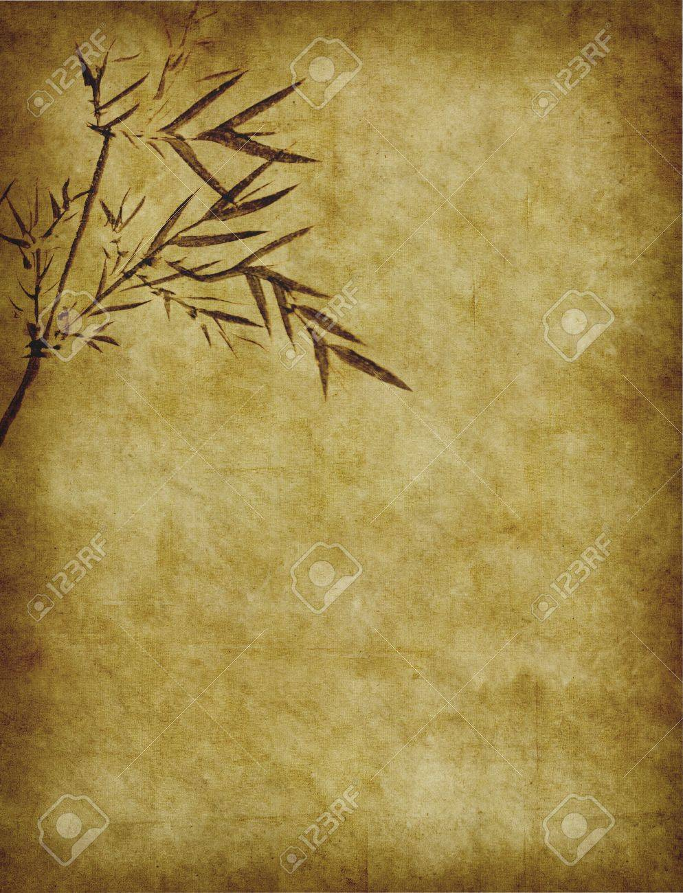 bamboo on old grunge antique paper texture Stock Photo - 9617252