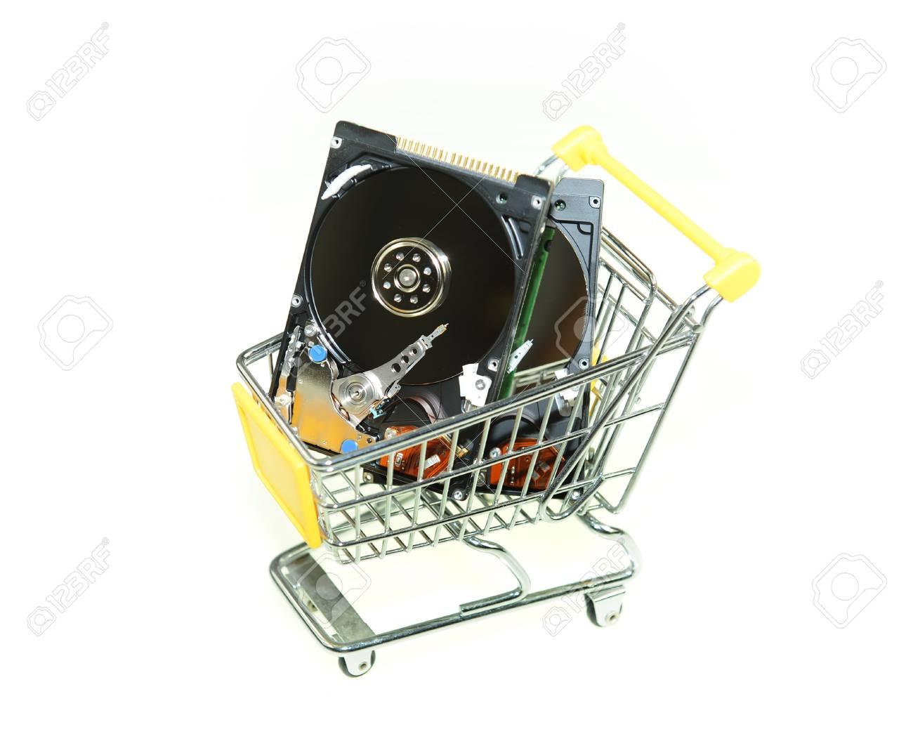 Computer hard disk in ship cart Stock Photo - 10867682