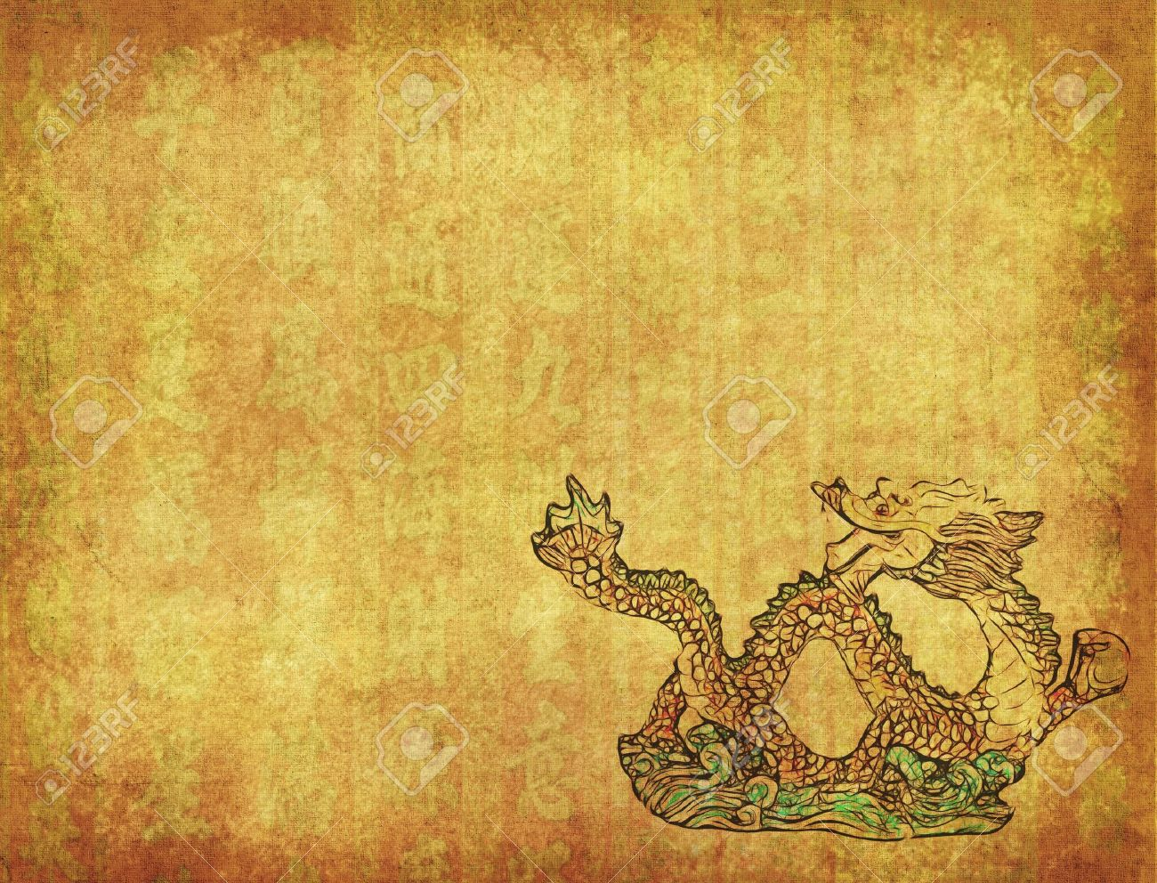 Chinese Dragon And Texture Background Stock Photo Picture And