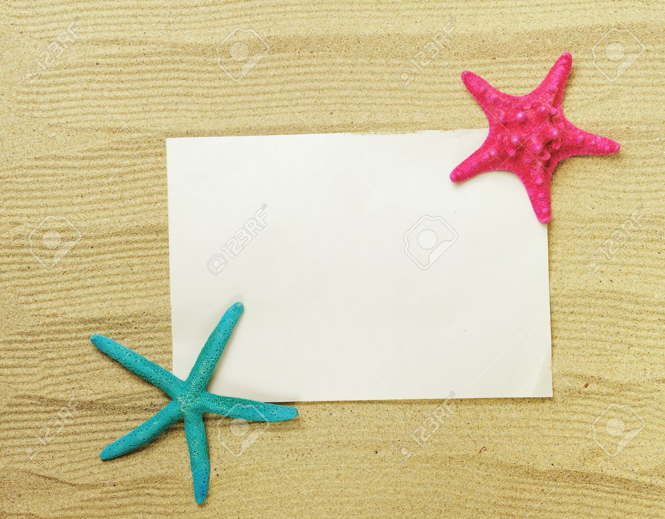 stock photo starfish and shells with frame on the beach vacation memories