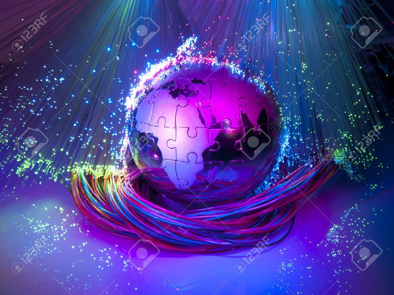 world map technology style against fiber optic background Stock Photo - 10442132