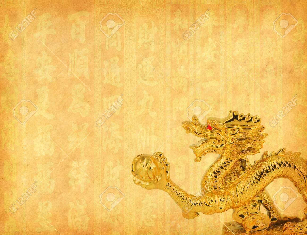 Colorful chinese dragon statue on white background Stock Photo - 11221744
