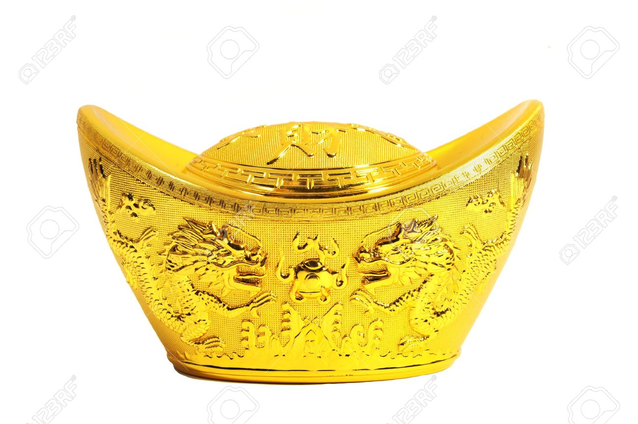 Chinese Gold Ingot Mean Symbols Of Wealth And Prosperity Stock Photo