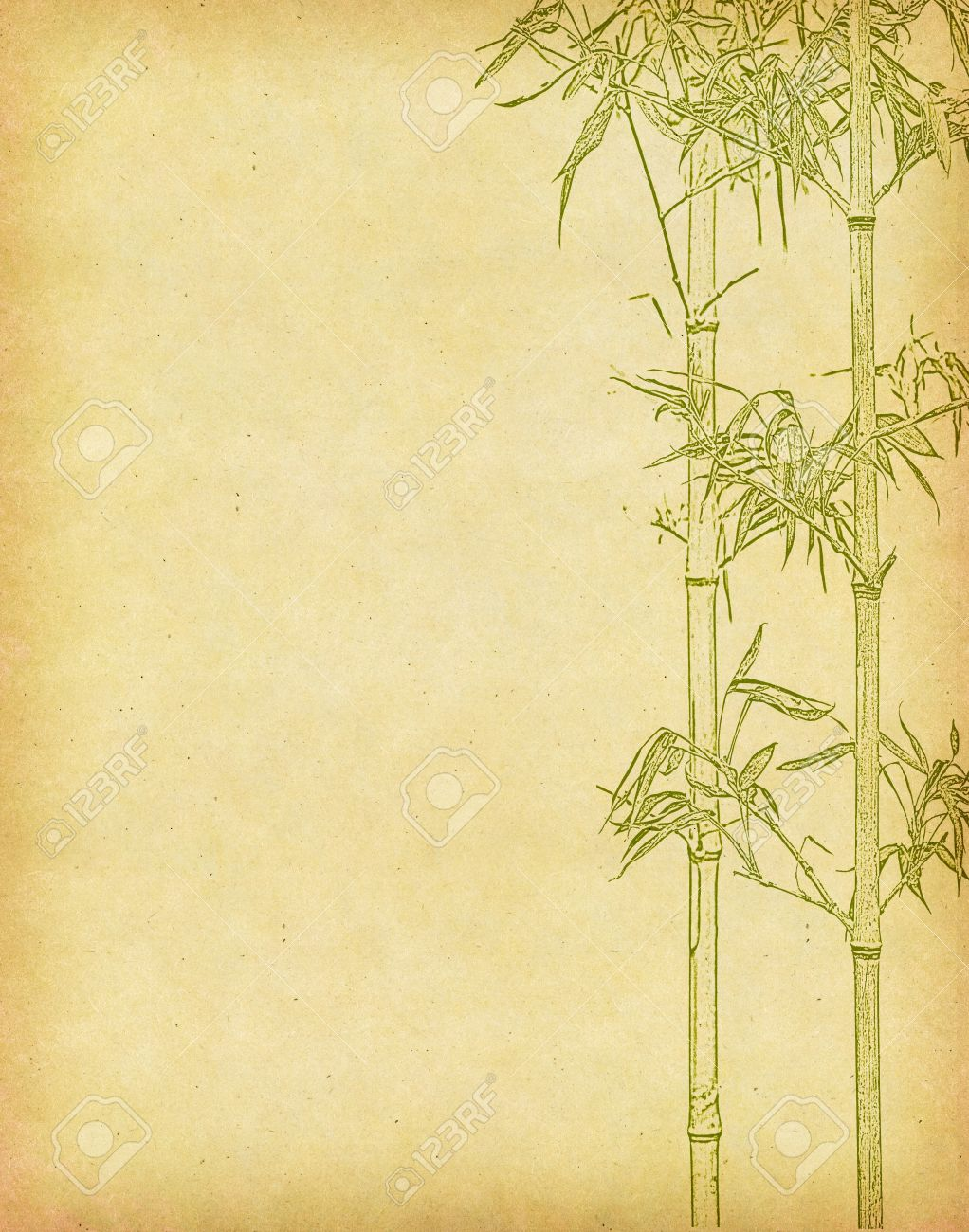 Design Of Chinese Bamboo Trees With Texture Of Handmade Paper Stock