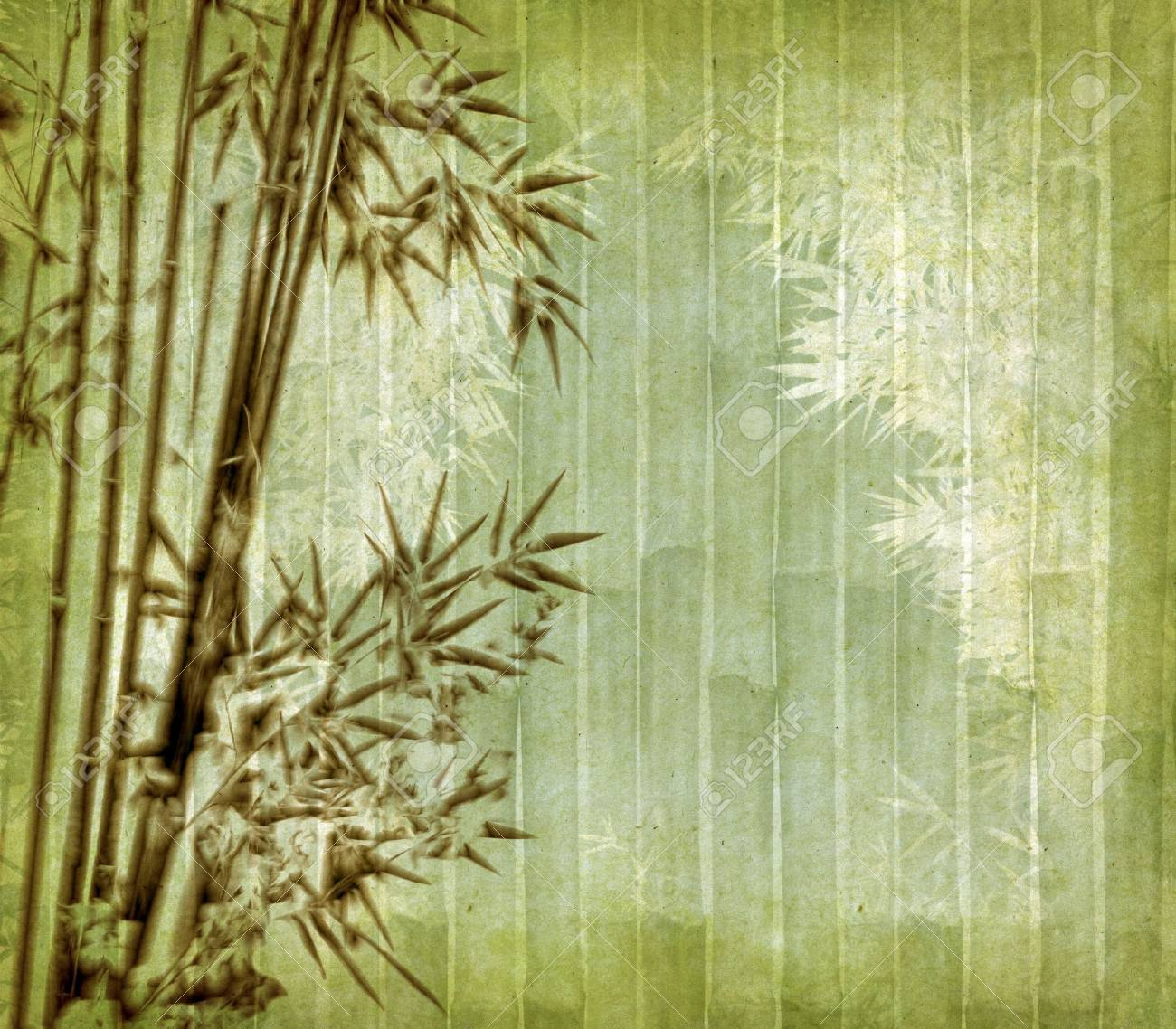 old paper with bamboo branches Stock Photo - 13841211