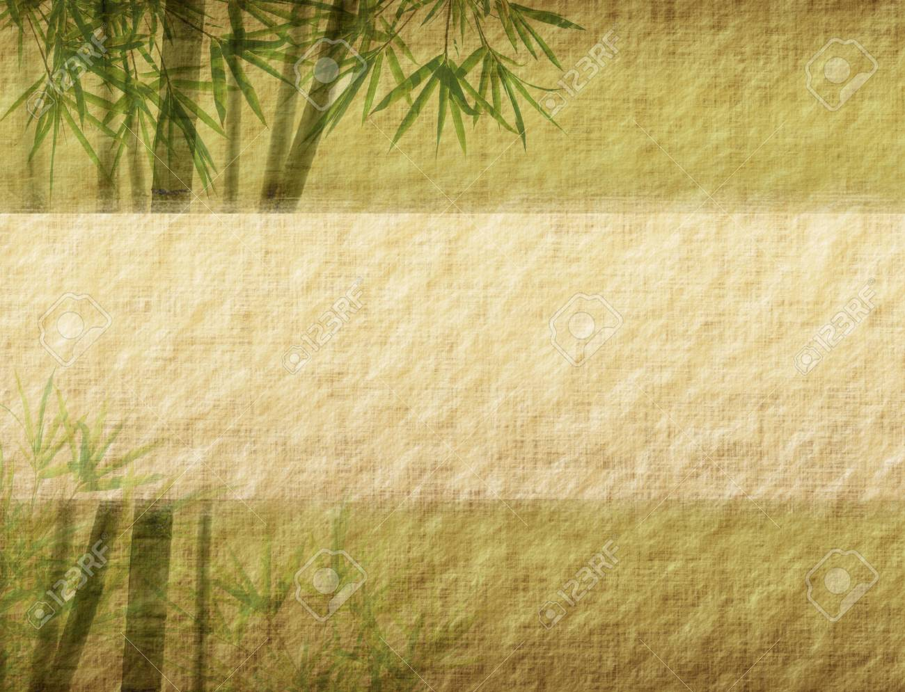 bamboo on old grunge paper texture background Stock Photo - 14183574