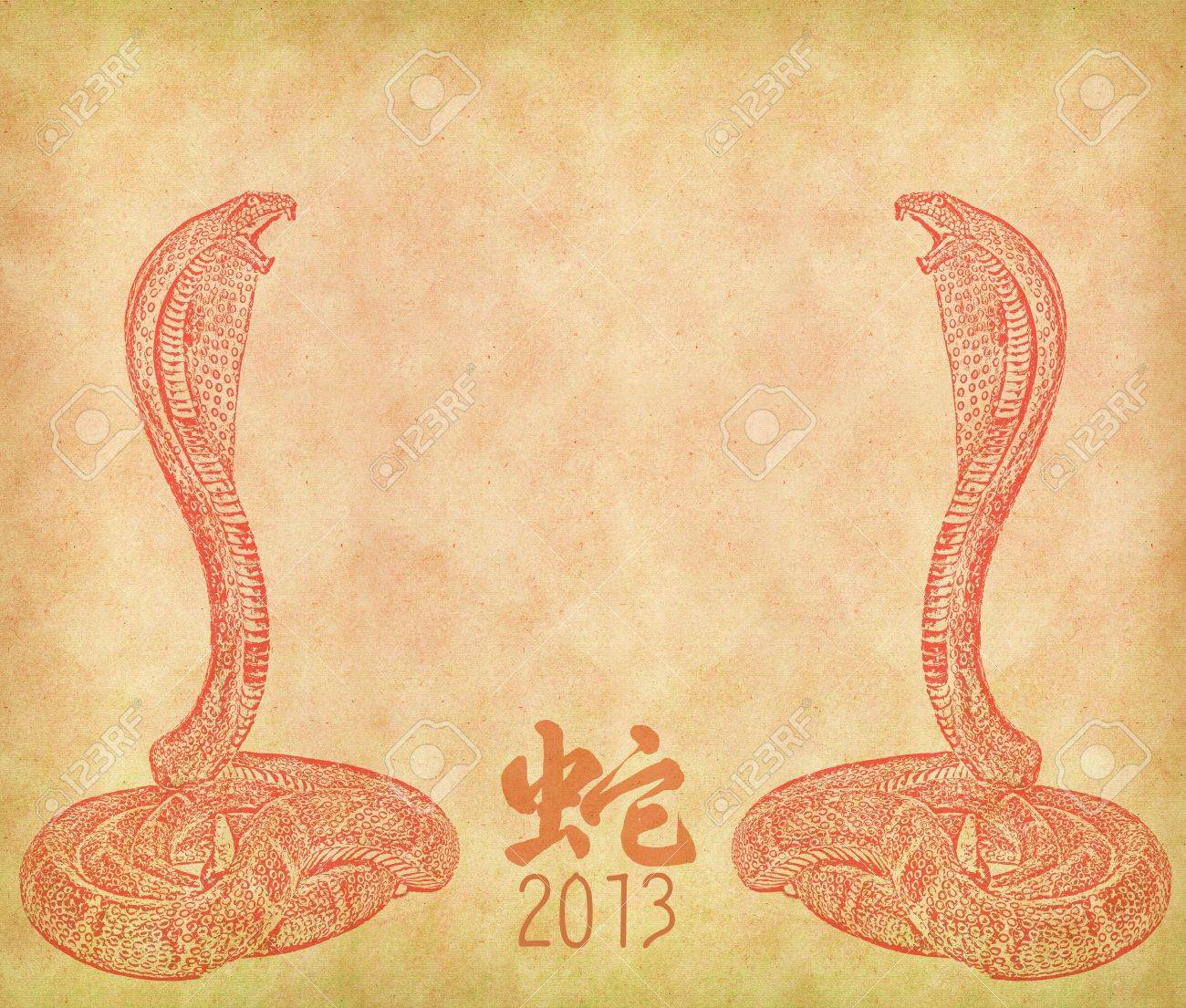 Year Of The Snake Design On Old Paper Background Chinese Calligraphy