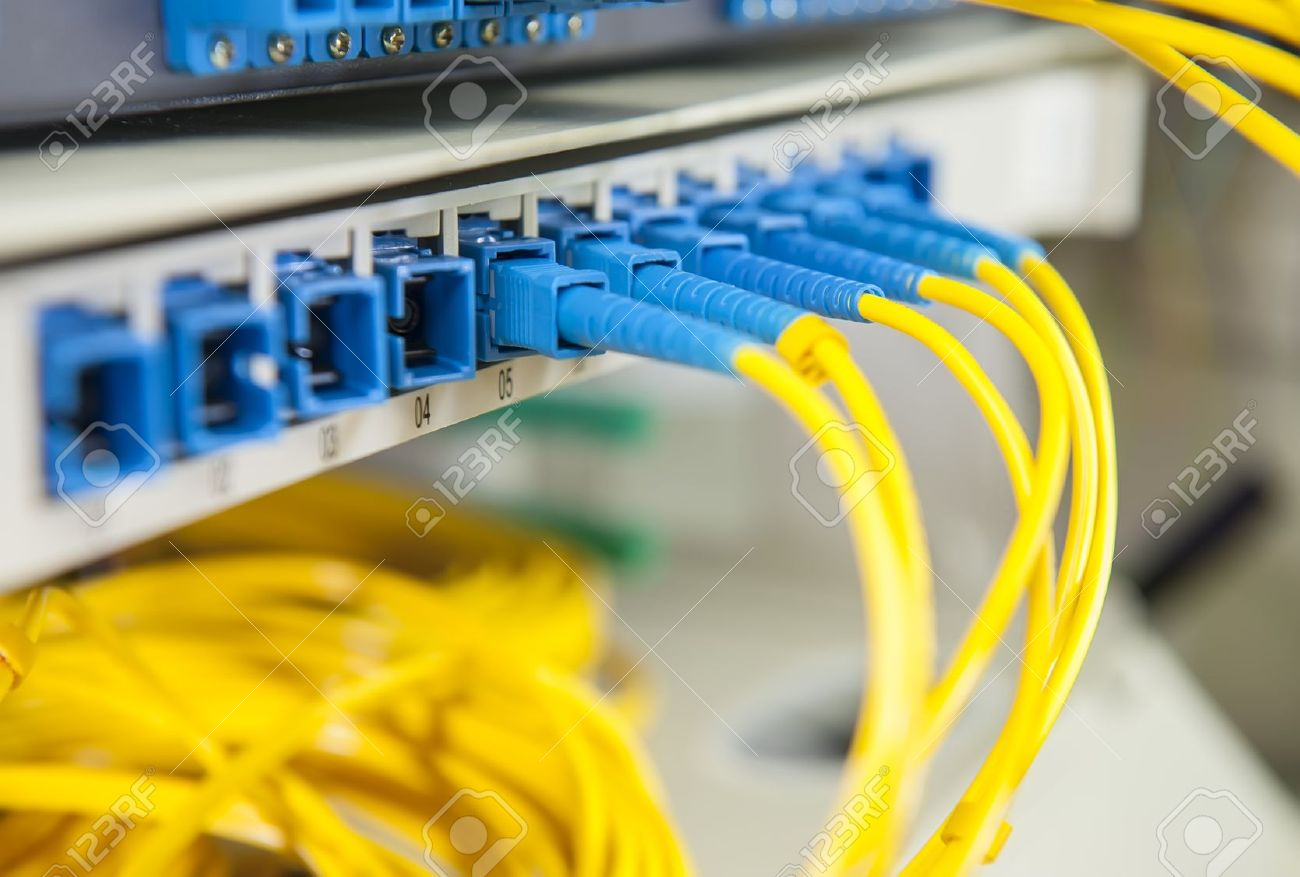 Tech Fiber Patch Panel Wiring Unlimited Access To Diagram On Cat6 Optical Network Cables And Switch Stock Photo Rh 123rf Com