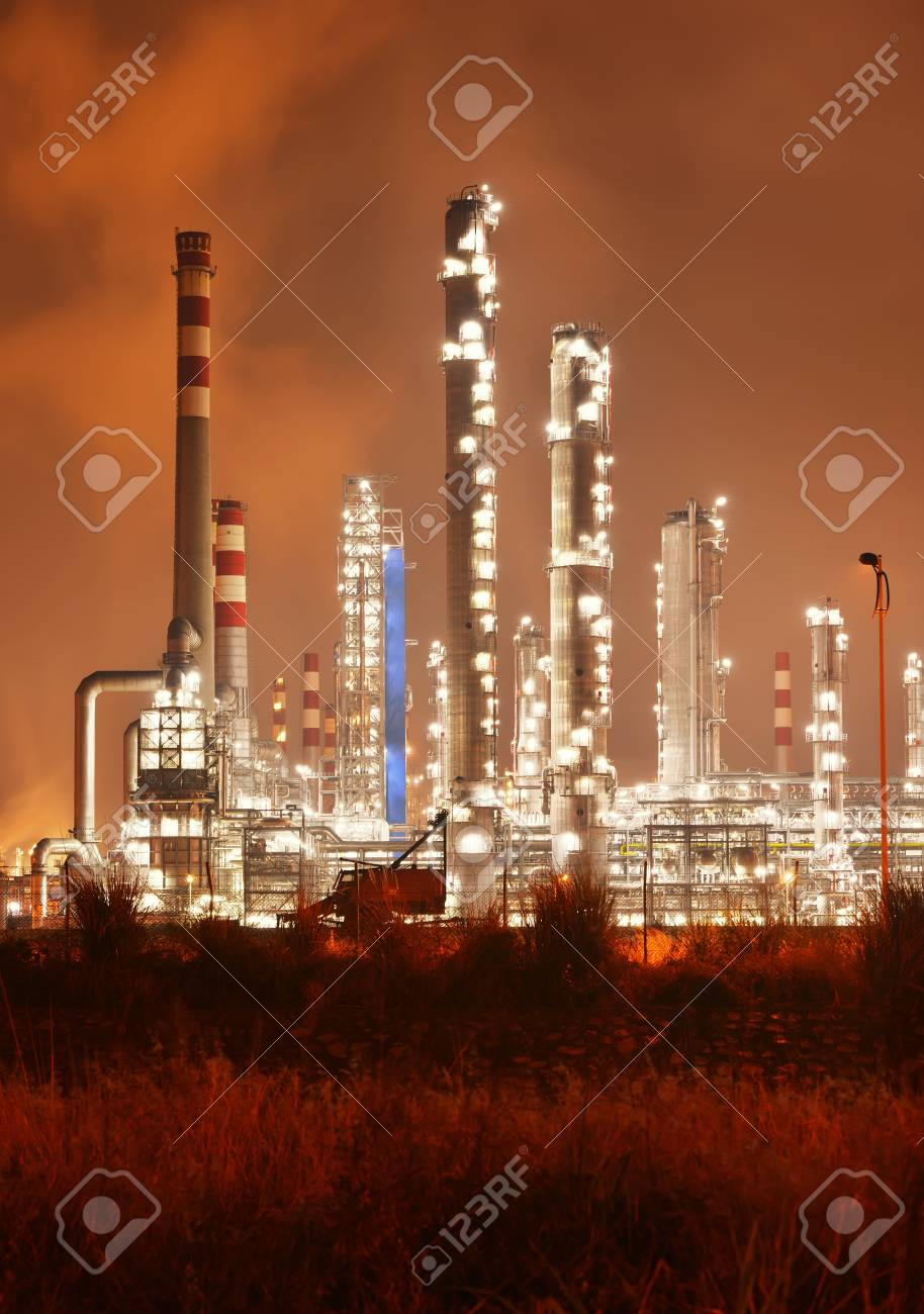 Refinery industrial plant with Industry boiler at night Stock Photo - 18685684