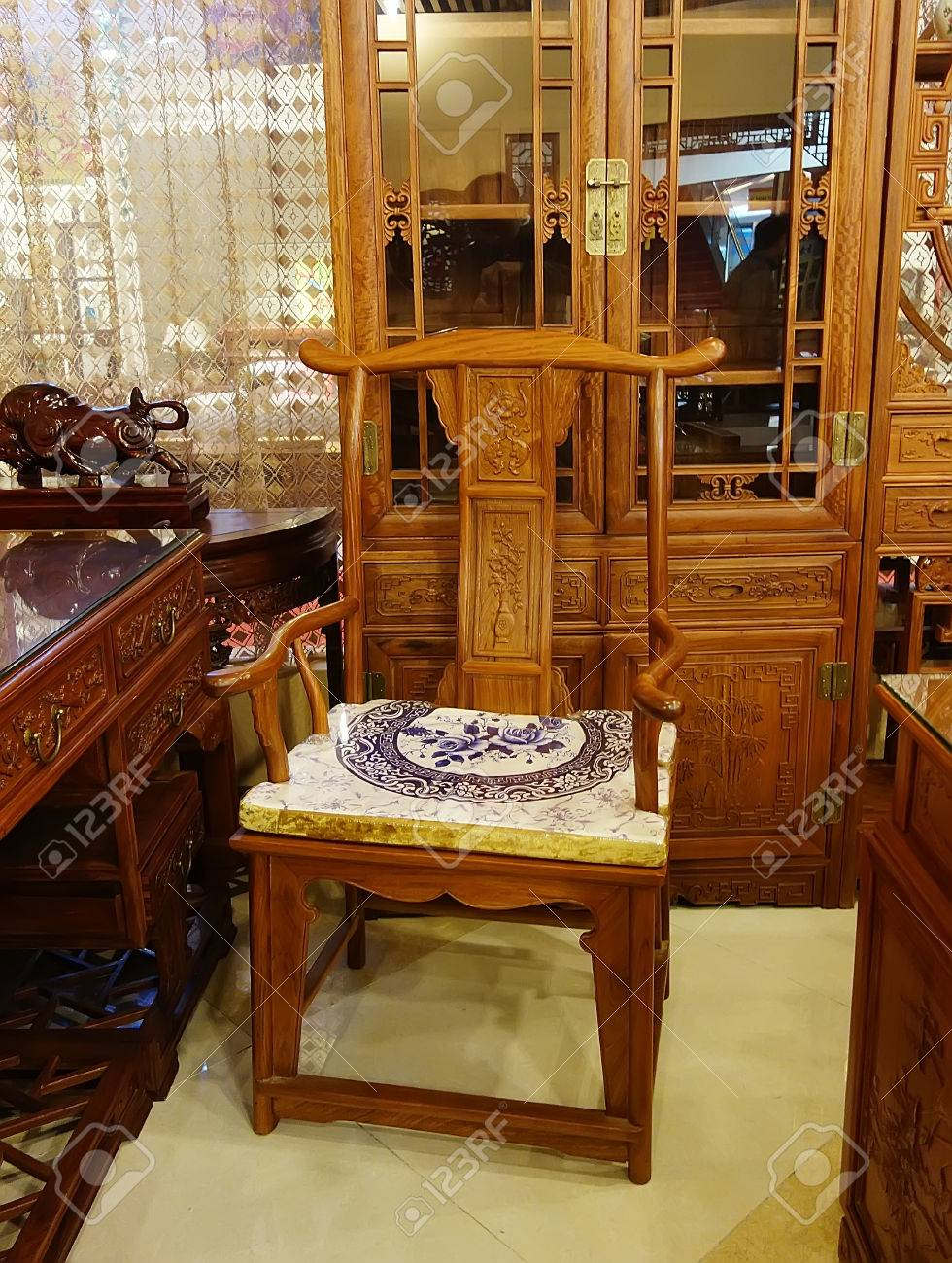 Chinese Antique Ming Style Furniture Made From Elm Wood Stock Photo    37159670