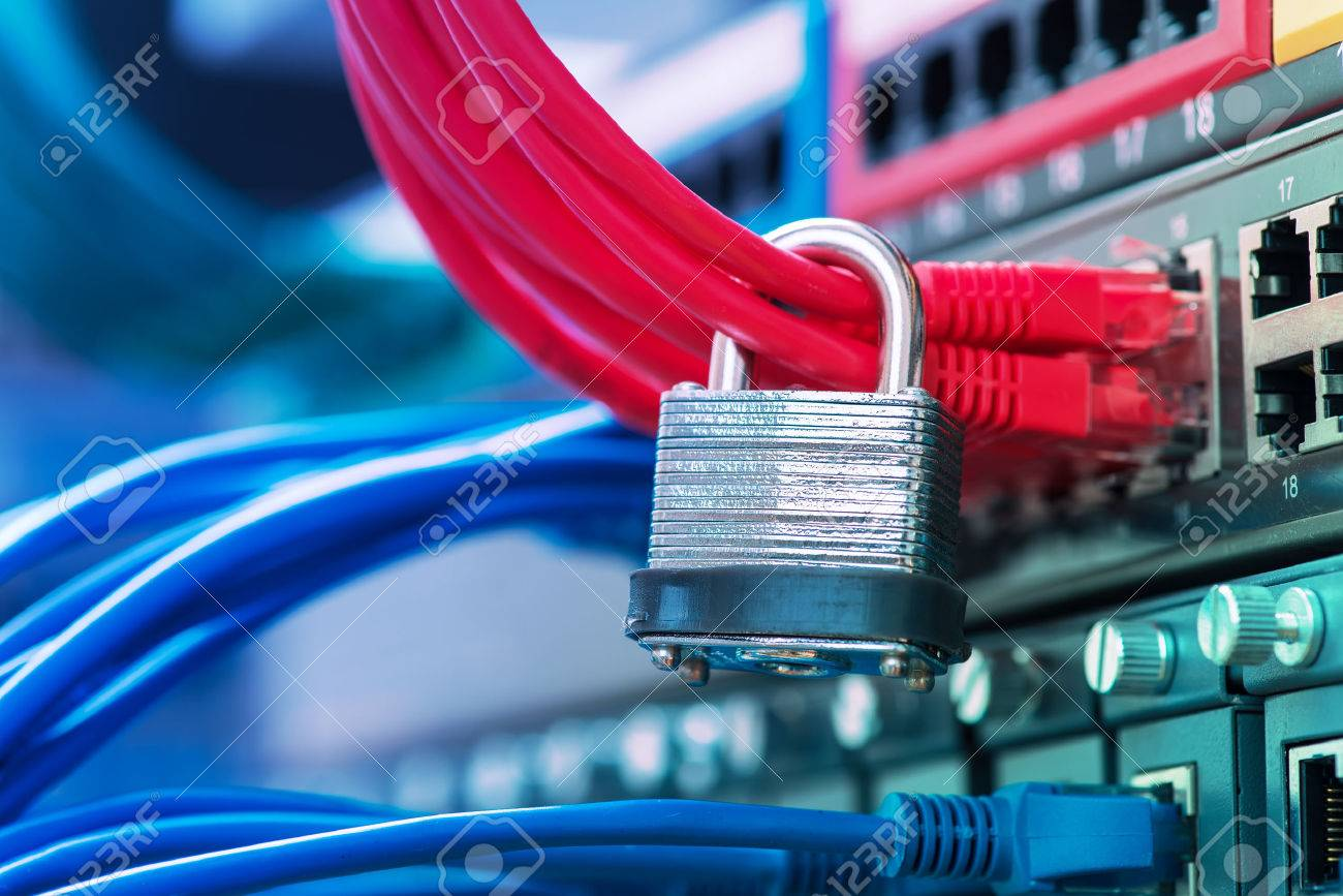 Network And Data Protection Concept With Padlock And Switch Stock ...