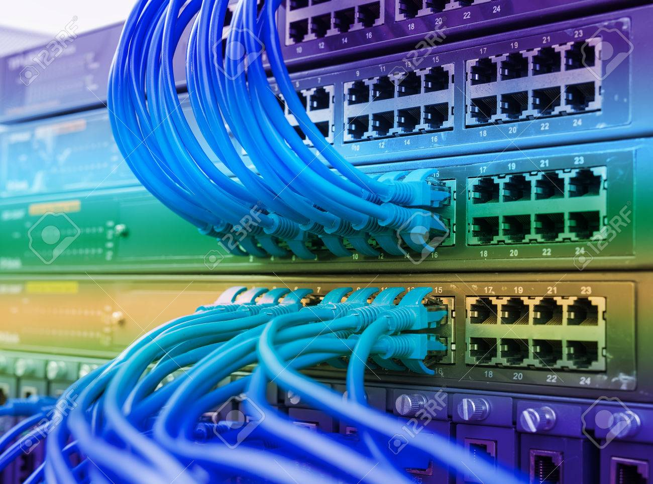 Network Switch And Ethernet Cables,Data Center Concept. Stock Photo ...